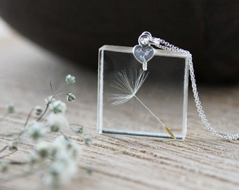 Dandelion Necklace , Stamped Silver Heart , Gifts for Her , Real Dandelion Wish , Dandelion Necklace , Botanical Jewellery , Hand-Stamped