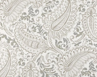 "84"" Rod Pocket Curtain Panels, Shannon Ecru Paisley, Unlined- Taupe, Beige, Gray"