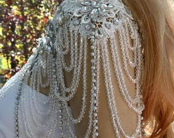 Crystal Shoulder Necklace, Bridal Shoulder Jewelry, Rhinestone Wedding Necklace, Bridal Jewelry Straps, Crystal Body Jewelry