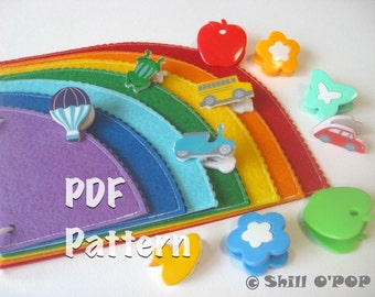 Rainbow Felt Quiet Book for Kid's Coloring Activities PDF Pattern Quiet Book Page