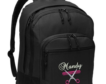Hair Stylist Personalized Back Pack Embroidered
