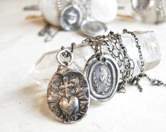 Wax Seal Jewelry, CROSS and Flaming Heart, LOVE TRANSFORMS, Antique Wax Seal, Shop by Meaning, -Sacred Heart-  Jewellery -Primitive,