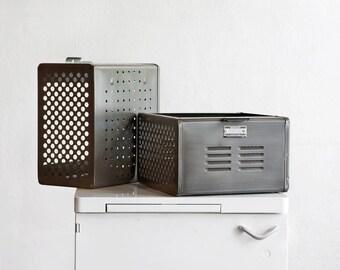 1950s Reclaimed Locker Basket Refinished in Natural Steel