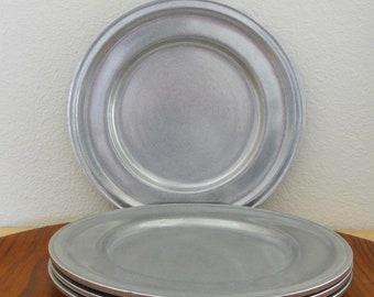 4 Carson Statesmetal Dinner Plates Danforth Pattern PA Pewter Large 10.25\  Plates Set of 4 & Pewter plate | Etsy