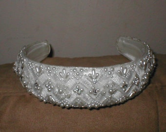 Vintage Beaded Bridal Headpiece white or ivory