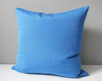 Blue Outdoor Pillow Cover, Capri Sunbrella Pillow Cover, Decorative Pillow Cover, Modern Pillow Cover, Solid Blue Cushion Cover, Mazizmuse
