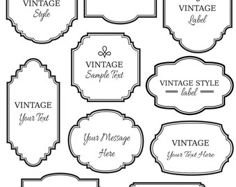 vintage black frame. CLIP ART: Vintage Labels // Digital Frame Vector Eps Editable DIY Cards Invitation Printable Instant Download Black White B
