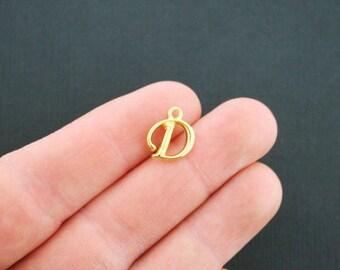6 Letter D Charms Antique Gold Tone Cursive Script Letter Initial - GC741