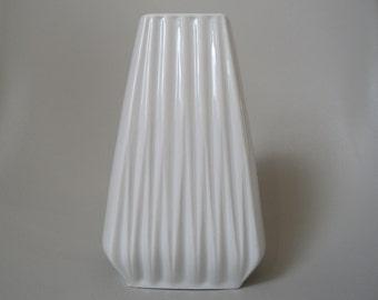 Vintage white shiny  german porcelain vase,collectible vase,number 2611