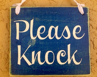 8x8 Please Knock  (Choose Color) Shabby Chic Sign