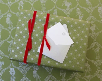 Dance of Dots Gift Wrap - Green or Blue with Silver Ink - christmas wrapping paper