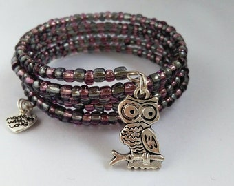Faded Purple and Grey Owl Seed Bead Bracelet
