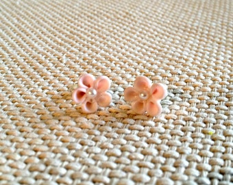 Flower Post Earrings with Pearl Center