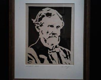 Beautiful  framed scroll sawn portrait of  Jefferson Davis.