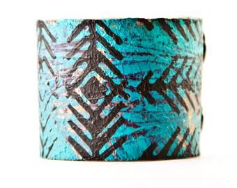 Turquoise Bracelet Leather Jewelry Cuff Southwest Bracelets