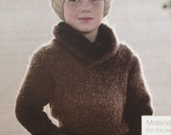 Boys Shawl Collar Sweater And Hat Knitting Pattern