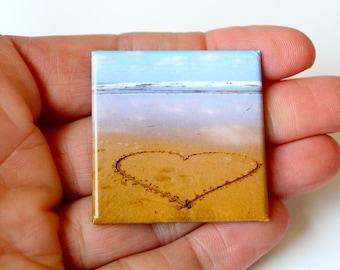 Love Heart on Beach Magnet, fridge/ Office Memo board magnet,