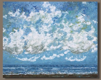 abstract painting, landscape painting, semi abstract seascape, ocean painting, beach art, blue, clouds and sand oblong wall art
