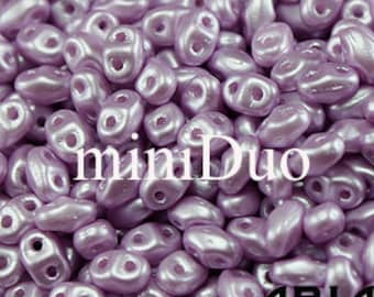 PASTEL LIGHT ROSE: MiniDuo Two-Hole Czech Glass Seed Beads, 2x4mm (10 grams)