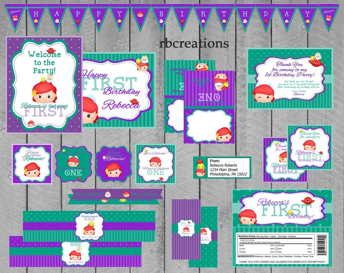 Little Mermaid Tsum Tsum Party Package, Tsum Tsum Party, Tsum Tsum Birthday, Tsum Tsum Printables, Ariel, Disney - Digital Printable
