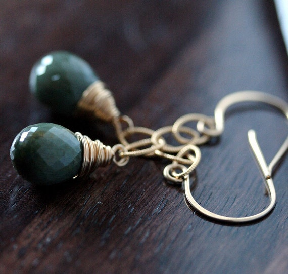 Green Earrings - Cats Eye Earrings - Cats Eye Jewelry - Green Cats Eye