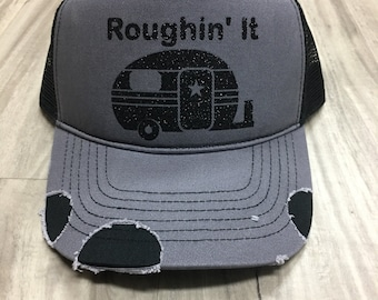 Roughin It Distressed Trucker Hat Customized Personalized Trucker Hat Foam Mesh Women's