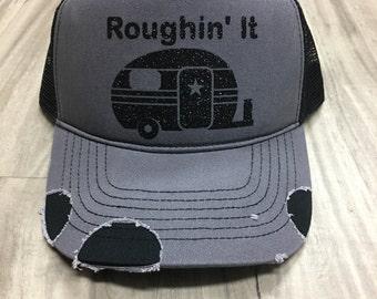 Roughin It Distressed Trucker Hat Customized Personalized Trucker Hat Foam Mesh Women's