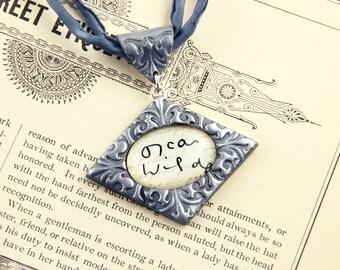 Oscar Wilde - Signature Necklace - Author, Dorian Gray, Plays, Poet, Handwriting - Silver, Gold