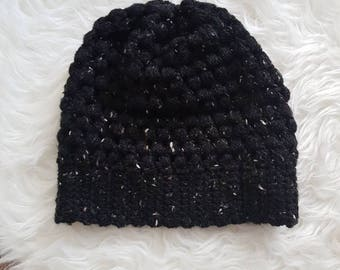 Sale - Cozy Puff Stitch Toque - Black Flecked with Brown and Gray | CLEARANCE