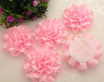 Pink ribbon flowers, light pink flowers, headband supplies, pink satin flowers, pink peony flowers, pink flower headband, flower flatback,