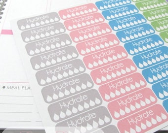 45 Hydrate Planner Stickers , Perfect for Erin Condren Planner, ECLP , Life Planner Grey-Pink-Teal-Green-Purple
