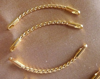 Link, gold plated brass, 38x8mm, twisted curved, Sold per pack of 4 links.