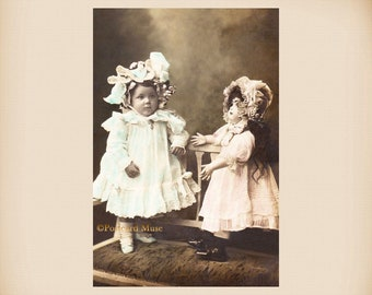 Girl With A Porcelain Doll New 4x6 Vintage Postcard Image Photo Print GD01