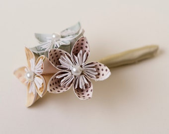 Origami wedding boutonnière, Origami flowers, Kusudama flowers, Origami boutonnière