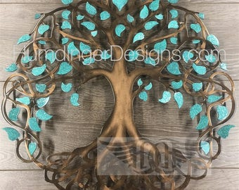 Unique Wedding Gift Teal Sparkle Leaf Tree of Life Infinity Tree Wall Decor Wall Art