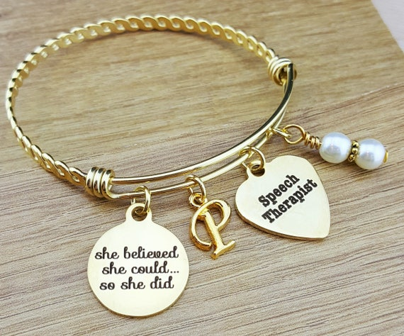 Gold Bangle Speech Therapist Gift Speech Therapy Gift Graduation Gift College Graduation Graduation Gift for Her Senior 2017 Senior Gifts