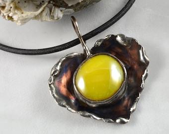 Mixed Metal RUFFLED HEART Pendant with Captured Lemon Drop Yellow Glass Cabochon