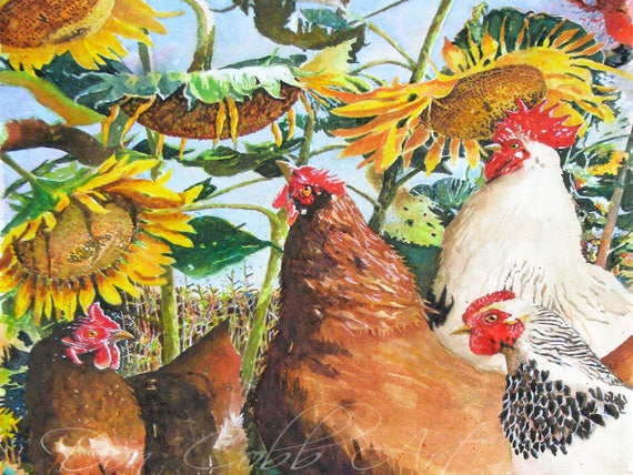 Chickens Rooster Sunflowers Art Sunflower Chickens