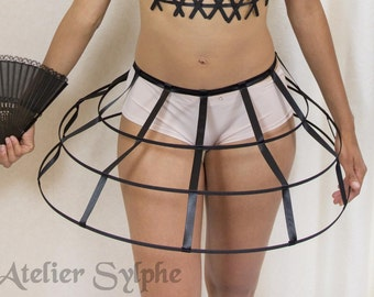 Black color Crinoline hoop cage skirt pannier 3 rows elastic waist simple cage