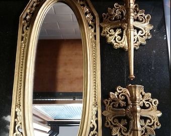 Vintage Gold Dart Mirror and Sconces