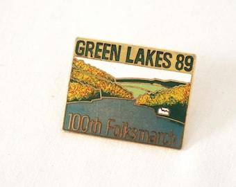 Green Lakes 100th Folksmarch 1989 Enameled Metal Pin