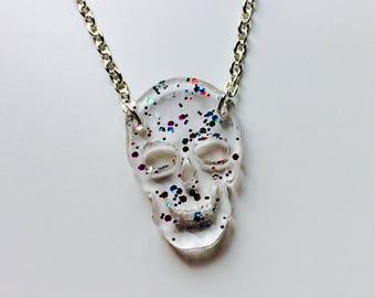 Skull   Halloween   Horror   Skeleton   Emo   Clear   Glitter   Laser Cut   Acrylic   Necklace