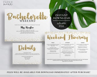 Printable Bachelorette Weekend Invitation | Editable PDF | Hens Weekend | Hens Party | Gold Glitter | Itinerary Invitation | Gold Invitation