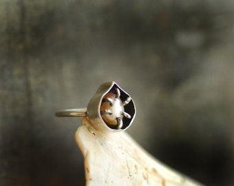 Ready to Ship, Pearl Ring, One of a Kind Ring, Thin Band, Sterling Silver, Unique Gift for Her, Alternative Engagement Ring, Natural Pearl