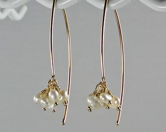 Gold Arc Earrings with White Pearl Charms