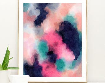 Large Navy Blue Art, Watercolor Abstract Painting, abstract watercolor pink and navy blue wall art, Colorful Modern Art Abstract Print