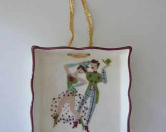 Cleminson's Pottery Hanging Plate Hand Painted Dancers
