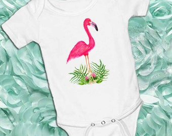 Flamingo with leaves in Fuschia on White onsie ,Original Hand Painted Watercolor, Snap bottom all in one bodysuit, tropical, summer, beach
