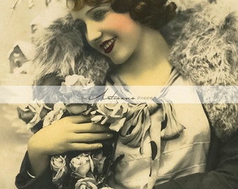 Antique Art Deco Flapper Grey Fashion - Instant Art Printable Download - Scrapbook Paper Crafts Altered Art - Vintage Tinted Photography