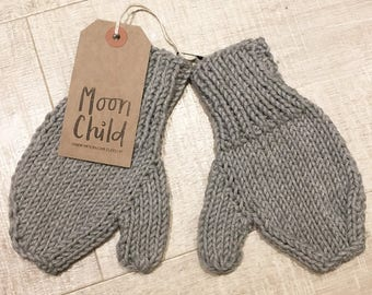 Soft Grey Cotton Knitted Moon Child Kids Mittens